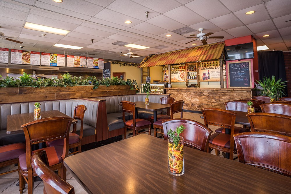 indoor restaurant booths and tables