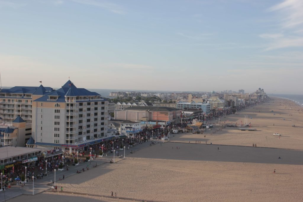 aerial view of ocean city hotels and beach from ferris wheel
