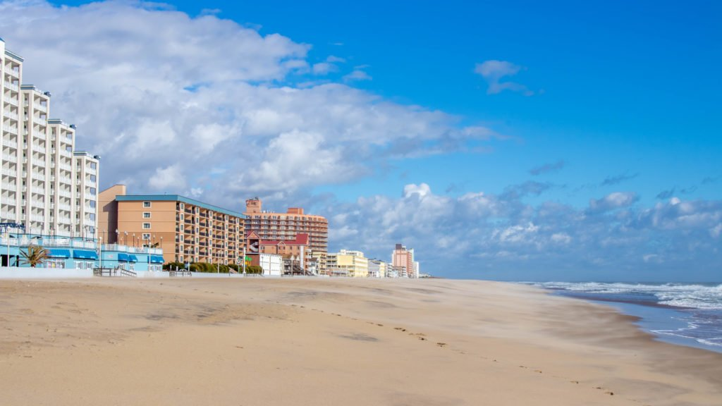 ocean city md beach with hotels along the coast