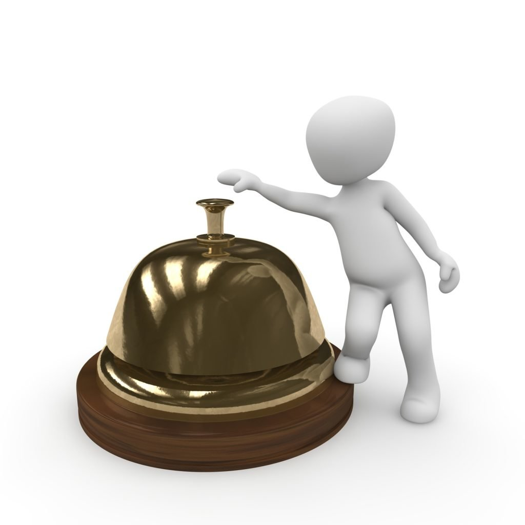 stock image of character ringing bell